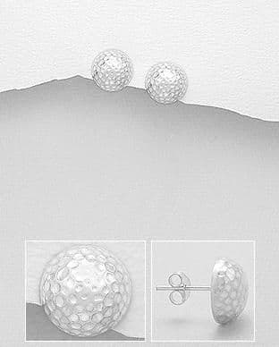 925 Sterling Silver Semi-Circle Hammered Dome Stud Earrings